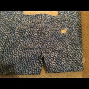 Michael Kors blue patched straight leg pants.